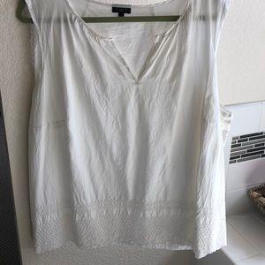 Talbots women's white sleeveless cotton shirt.